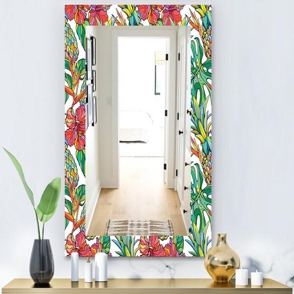 Designart 'Tropical Mood Foliage 4' Bohemian and Eclectic Mirror - Vanity Mirror - Green