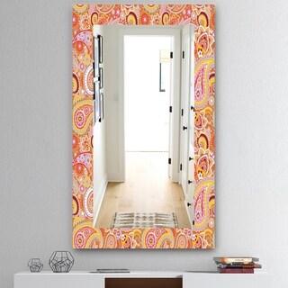 Designart 'Paisley 2' Mid-Century Mirror - Wall Mirror - Red
