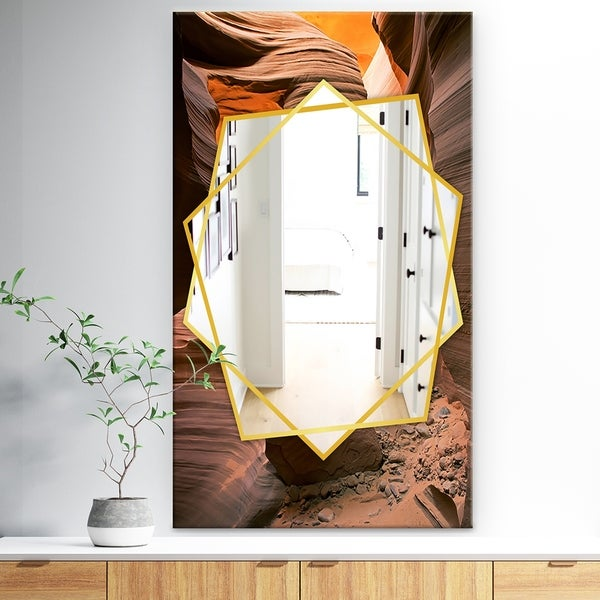Designart 'Lower Antelope Slot Canyon In Reflected Sunlight' Traditional Mirror - Wall Mirror - Brown