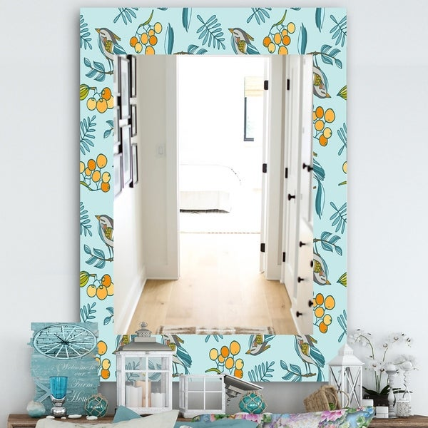 Designart 'Decorative With Birds, Berries' Farmhouse Mirror - Wall Mirror - Blue