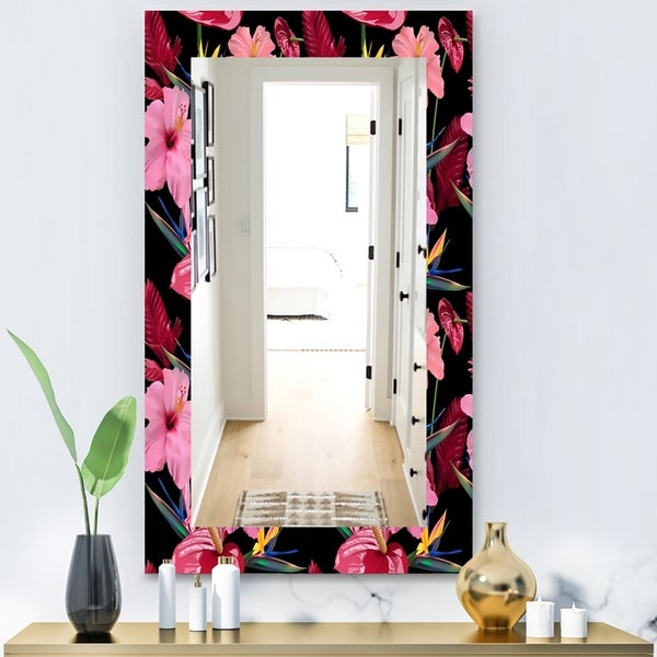 Designart 'Obsidian Bloom 8' Bohemian and Eclectic Mirror - Vanity Mirror - Pink