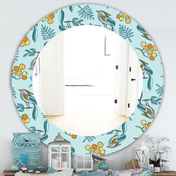 Designart 'Decorative With Birds, Berries' Farmhouse Mirror - Oval or Round Wall Mirror