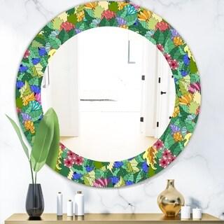 Designart 'Tropical Mood Foliage 1' Modern Mirror - Oval or Round Wall Mirror