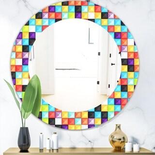 Designart 'Capricious Colorfields 2' Modern Mirror - Oval or Round Wall Mirror - Blue
