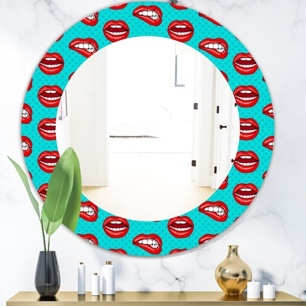 Designart 'Hot Lips' Modern Mirror - Oval or Round Wall Mirror