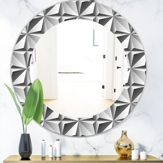 Designart 'Scandinavian 1' Modern Mirror - Oval or Round Wall Mirror - Grey/Silver