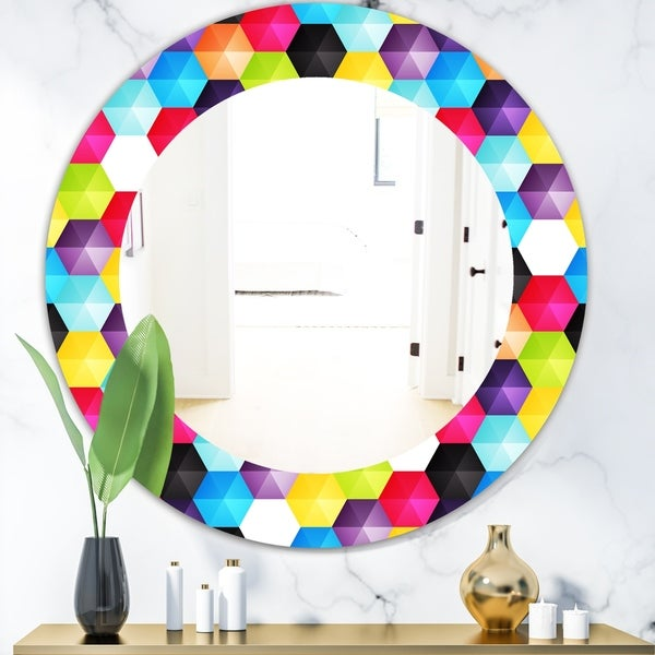 Designart 'Capricious Colorfields 3' Modern Mirror - Oval or Round Wall Mirror - Red