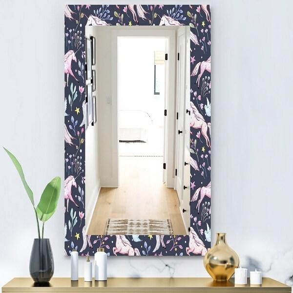 Designart 'Watercolor Unicorn Pattern' Modern Mirror - Vanity Mirror - Black