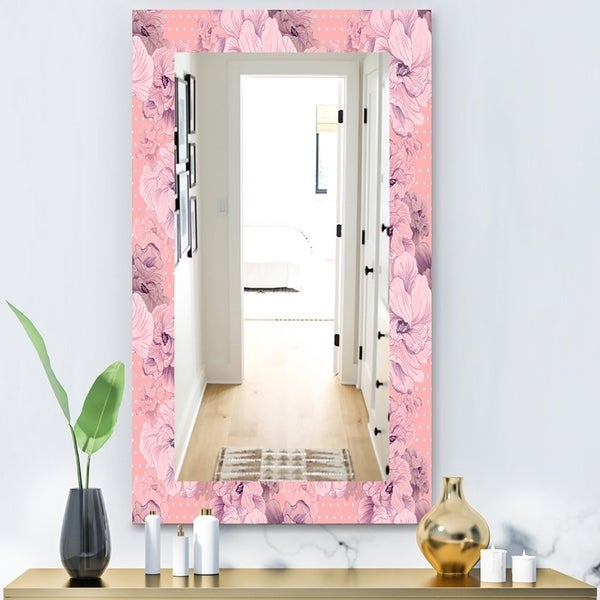 Designart 'Pink Blossom 11' Bohemian and Eclectic Mirror - Modern Wall Mirror - Pink