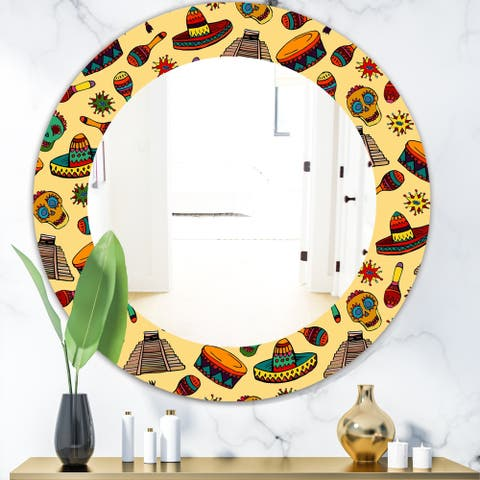 Designart 'Pattern with Mexican Symbols' Bohemian and Eclectic Mirror - Oval or Round Wall Mirror - Gold