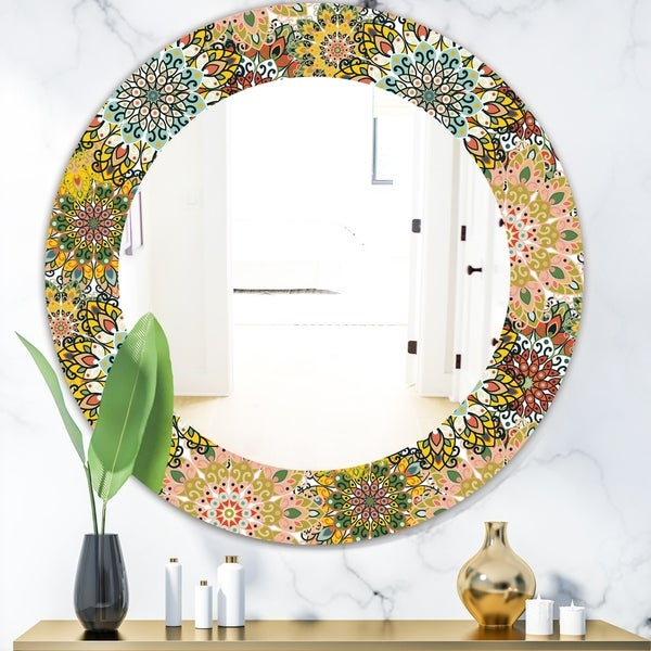 Designart 'Mandala Pattern For Printing On Fabric Or Paper' Bohemian and Eclectic Mirror - Oval or Round Wall Mirror - Gold