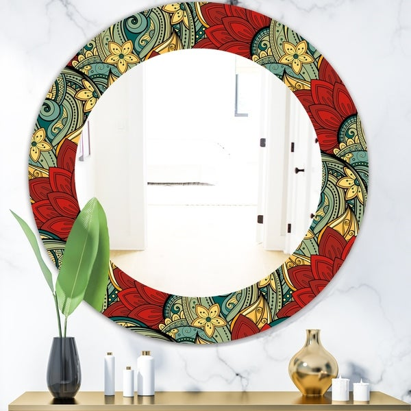 Designart 'Colorful Floral Pattern' Bohemian and Eclectic Mirror - Oval or Round Wall Mirror - Red
