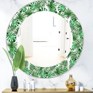 Designart 'Tropical Mood Foliage 8' Bohemian and Eclectic Mirror - Oval or Round Wall Mirror