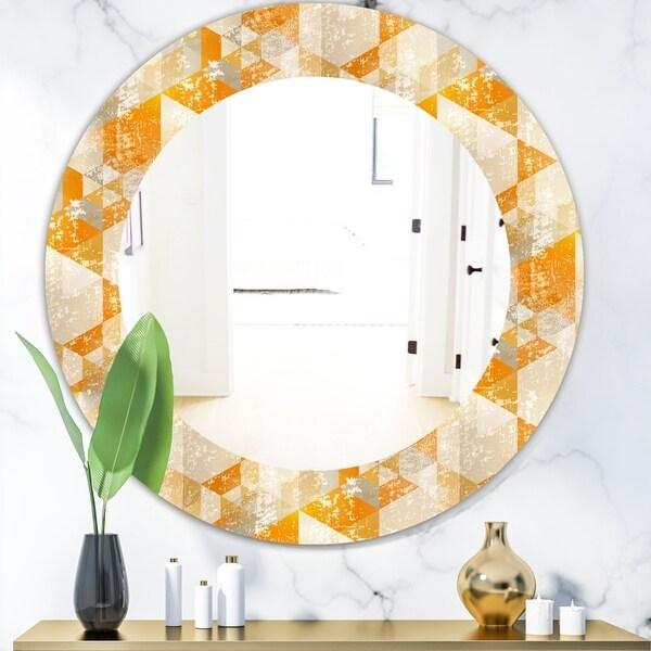 Designart 'Gold Retro Style' Glam Mirror - Oval or Round Wall Mirror - Gold