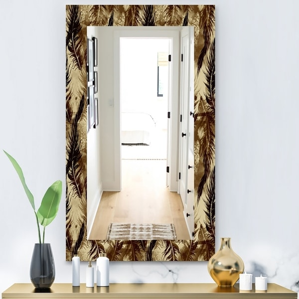 Designart 'Feathers 15' Bohemian and Eclectic Mirror - Vanity Mirror - Black