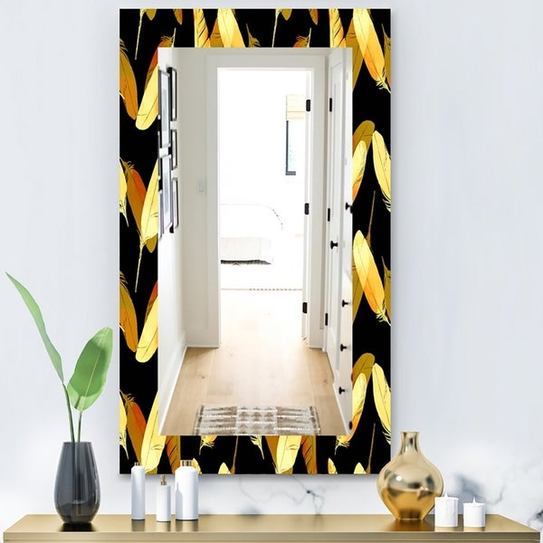 Designart 'Feathers 6' Bohemian and Eclectic Mirror - Vanity Mirror - Gold
