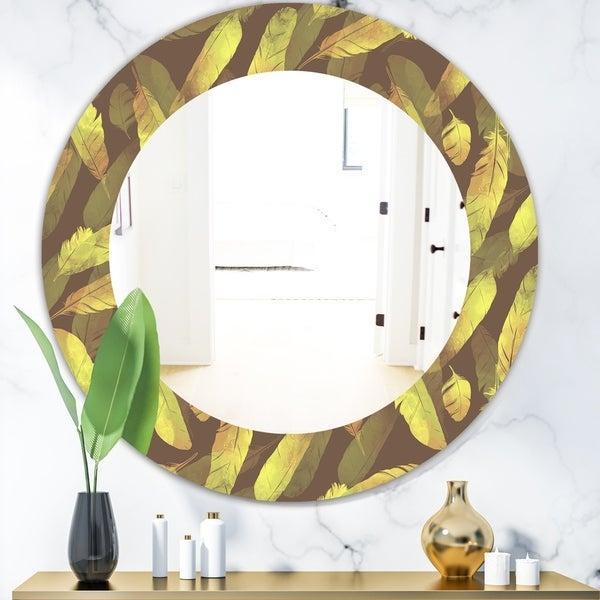 Designart 'Yellow Moods 4' Bohemian and Eclectic Mirror - Oval or Round Wall Mirror - Gold