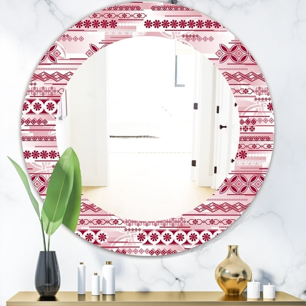 Designart 'Irregular Pattern' Bohemian and Eclectic Mirror - Oval or Round Wall Mirror - Red