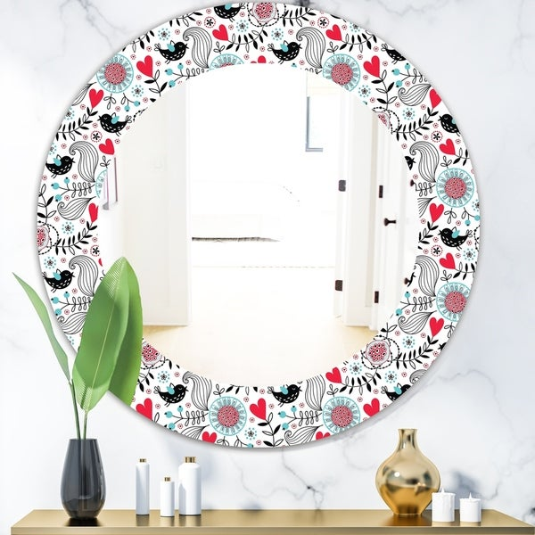 Designart 'Colorful Floral Pattern II' Modern Mirror - Oval or Round Wall Mirror