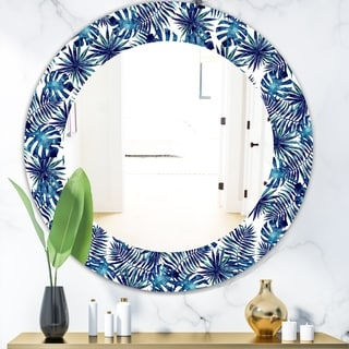 Designart 'Tropical Mood Blue 3' Bohemian and Eclectic Mirror - Oval or Round Wall Mirror