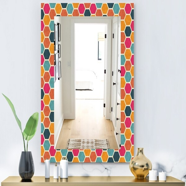 Designart 'Honeycomb 1' Modern Mirror - Wall Mirror - Red