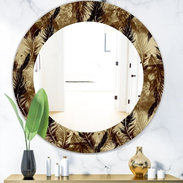 Designart 'Feathers 15' Bohemian and Eclectic Mirror - Oval or Round Wall Mirror