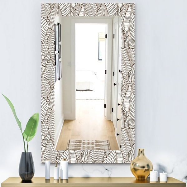 Designart 'Leaves Of Palm Tree' Bohemian and Eclectic Mirror - Wall Mirror - Brown