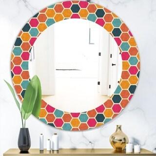 Designart 'Honeycomb 1' Modern Mirror - Oval or Round Wall Mirror - Red