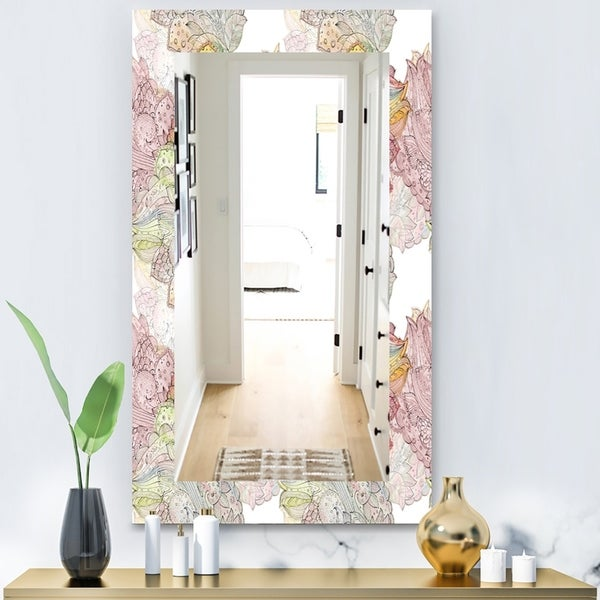 Designart 'Watercolor Painting With Ethnic Motif' Bohemian and Eclectic Mirror - Modern Wall Mirror - Pink