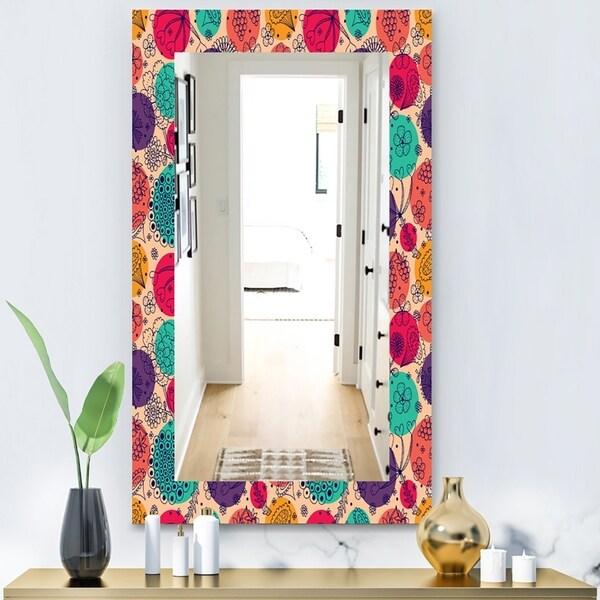 Designart 'Flowers Motif Pattern' Modern Mirror - Vanity Mirror - Pink