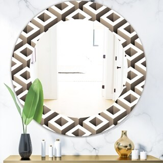Designart 'Scandinavian 8' Mid-Century Mirror - Oval or Round Wall Mirror - Grey/Silver