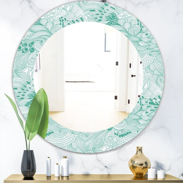 Designart 'Pattern Abstract With Colorful Ornament' Modern Mirror - Oval or Round Wall Mirror - Green