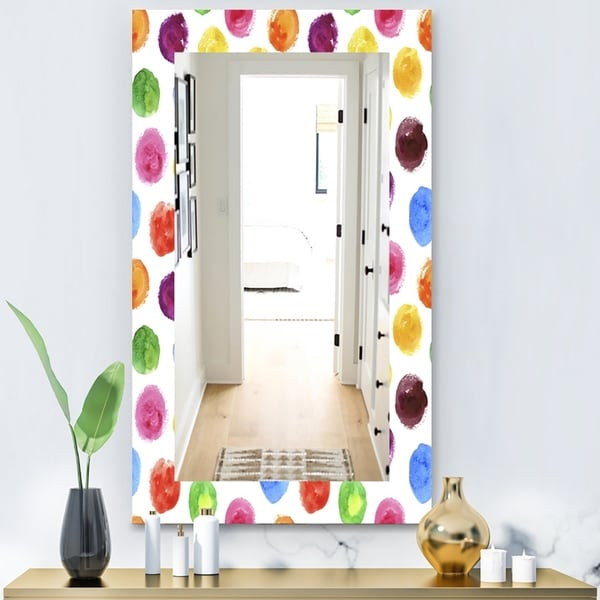 Designart 'Pattern With Multicolor Watercolor Spots' Modern Mirror - Vanity Mirror - White