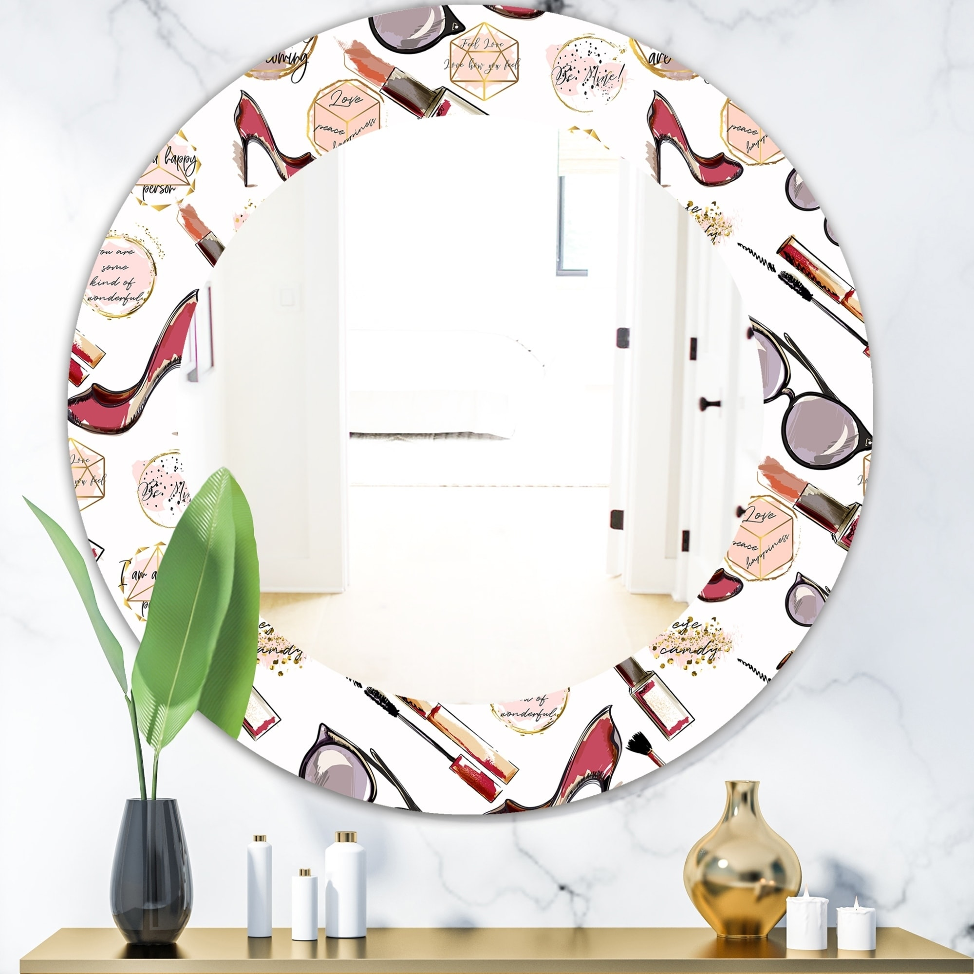 Shop Porch Den Fancy Happy Lady Makeup Modern Mirror Overstock 28557948