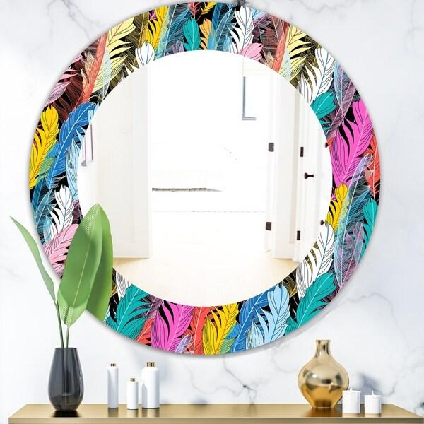 Designart 'Feathers 7' Modern Mirror - Oval or Round Wall Mirror - Black