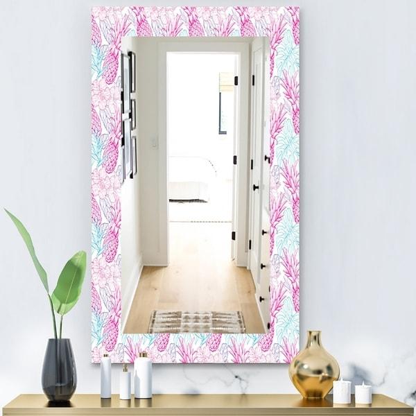 Designart 'Tropical Mood Pineapple 2' Modern Mirror - Vanity Mirror - Pink