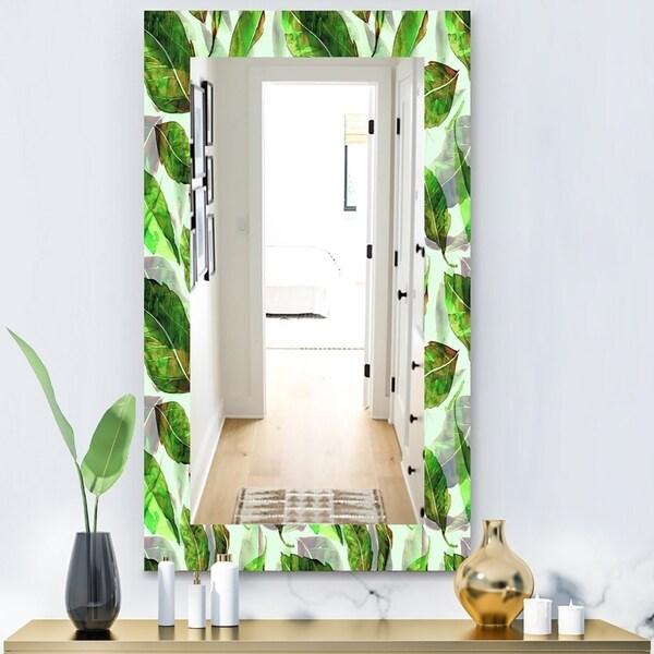 Designart 'Tropical Mood Foliage 10' Modern Mirror - Vanity Mirror - Green