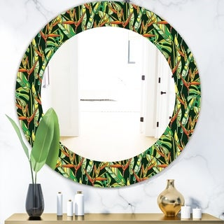 Designart 'Tropical Mood Foliage 5' Bohemian and Eclectic Mirror - Oval or Round Wall Mirror