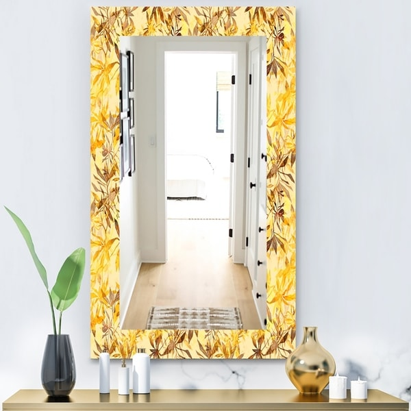 Designart 'Yellow Moods 11' Bohemian and Eclectic Mirror - Wall Mirror - Gold