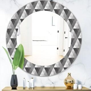 Designart 'Triangular Colourfields 2' Modern Mirror - Oval or Round Wall Mirror - Black