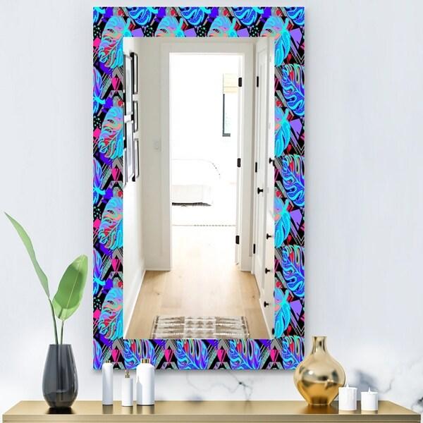 Designart 'Tropical Mood Blue 2' Bohemian and Eclectic Mirror - Wall Mirror