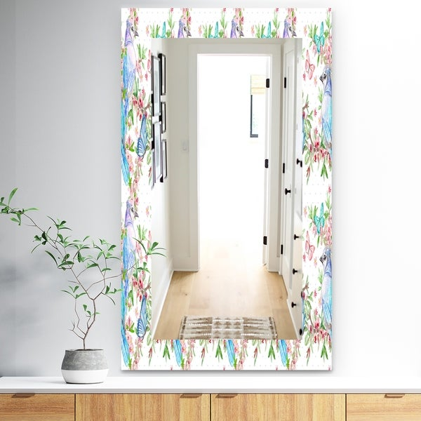 Designart 'Texture With Couples Of Birds and Butterflies' Traditional Mirror - Vanity Mirror - White