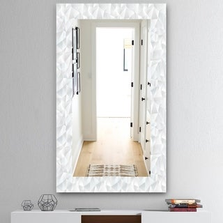 Designart 'Abstract White Geometric Pattern' Mid-Century Mirror - Vanity Mirror