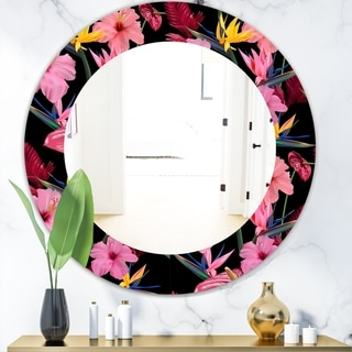 Designart 'Obsidian Bloom 8' Bohemian and Eclectic Mirror - Oval or Round Wall Mirror - Pink