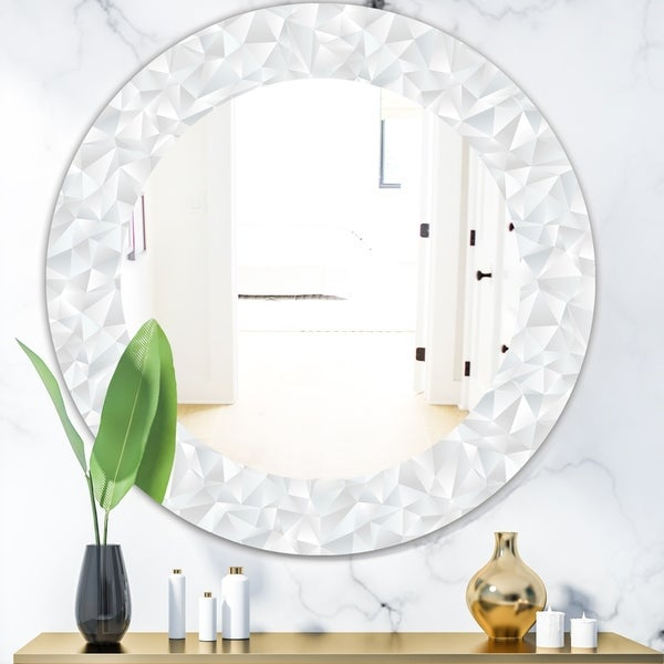 Designart 'Abstract White Geometric Pattern' Mid-Century Mirror - Oval or Round Wall Mirror