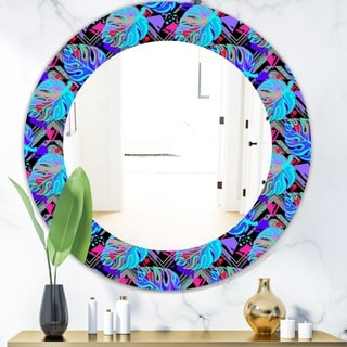 Designart 'Tropical Mood Blue 2' Bohemian and Eclectic Mirror - Oval or Round Wall Mirror