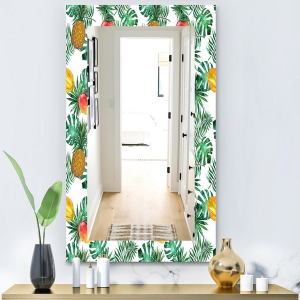 Designart 'Tropical Mood Foliage 7' Bohemian and Eclectic Mirror - Vanity Mirror - Green