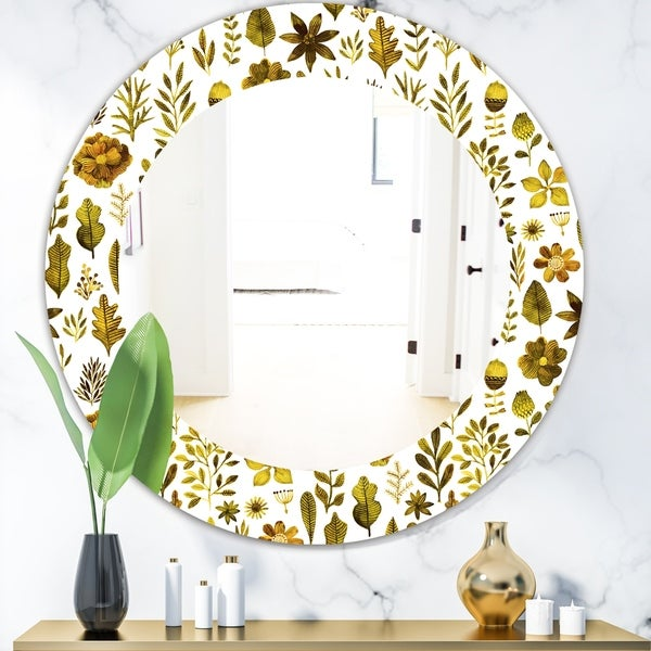 Designart 'Watercolor Texture With Flowers and Plants' Modern Mirror - Oval or Round Wall Mirror - Gold