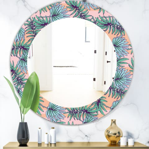 Designart 'Summer Colorful HawaIIan Pattern with Tropical Plants' Bohemian and Eclectic Mirror - Oval or Round Wall Mirror