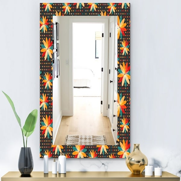 Designart 'Obsidian Bloom 10' Bohemian and Eclectic Mirror - Vanity Mirror - Black
